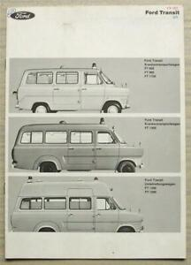 FORD TRANSIT AMBULANCES Sales Brochure c1969 GERMAN TEXT #7 109 661