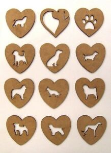 MDF Wooden Dog, Pet laser cut out heart shapes for craft making, decoration, pai