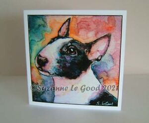 Bull Terrier dog art painting greetings card from painting by Suzanne Le Good