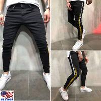 Fashion Black Men's Skinny Jeans Slim Fit Denim Elastic Pants Zipper Trousers US