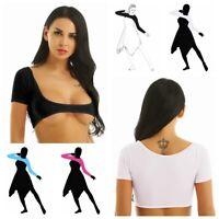Womens Sheer Mesh Open Bust Belly Dance Crop Top Blouses Tank Top T-Shirt Covers