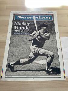 1995 NEWSDAY NEW YORK MICKEY MANTLE NEW YORK YANKEES DEATH PRINTINGPLATE POSTER