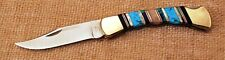Buck USA 110 1991 custom turquoise & pearl inlaid mint lockback knife