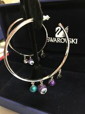 Swarovski Swan Evil Eye Charm Hoop Earrings Purple and Blue