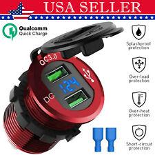 12V Dual USB QC 3.0 Fast Car Charger Socket Power Outlet W/LED Digital Voltmeter