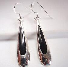 Black Onyx Drops of Silver 925 Sterling Silver Dangle Earrings