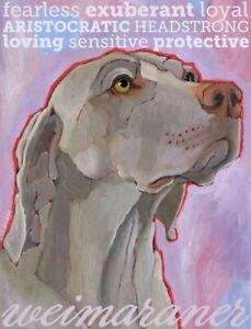 Weimaraner - Dog Portrait - Fridge Magnet - Reproduction Oil Painting