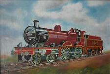 Train Locomotive on Tracks in Full Steam F Weston Oil Painting 1974