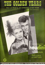 """HOUDINI Sheet Music """"The Golden Years"""" Tony Curtis Janet Leigh"""