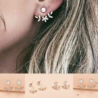 1 Pair Women Crystal Leaf Ear Jacket Gold Plated Back Cuff Stud Earrings Jewelry