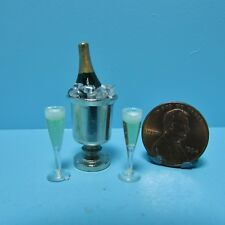 Dollhouse Miniature Champagne in Silver Ice Bucket with Filled Glasses ~ HR60011