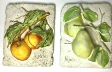 """Vintage Pottery Fruit Wall Decor Peaches and Pears Ceramic 8 1/4"""" X 6 3/8"""""""