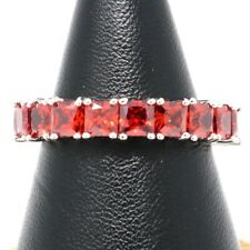 Classic 3 Ct Emerald Cut Red Ruby Paved Band Ring Women Wedding Birthday Jewelry
