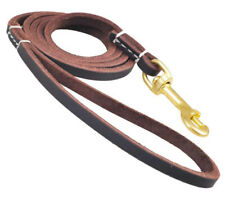 Dog Lead Pet Leash Genuine Leather High Quality with Strong Brass Buckle
