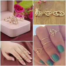 4PCS/Set Rings Urban Gold Plated Crystal Plain Above Knuckle Ring Band Chic Ring
