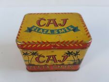 "Vintage Tin Tea ""Golden Mix"" Container Box Chechslovakia 1960's"