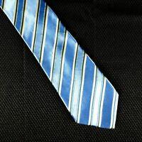Resilio Tie Mens Blue White Striped Silk 60 x 3.75 Handmade Necktie Diagonal