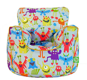 Cotton Grey Monsters Bean Bag Arm Chair with Beans Toddler Size From Bean Lazy