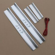 Stainless LED Door Sill Scuff Plate Guards Cover For Jeep Wrangler 4-Door 07-17