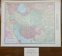 "PERSIA 1902 Vintage Atlas Map 14""x11"" ~ Old Antique IRAQ IRAN AFGANISTAN ASIA"