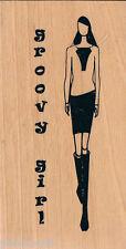 ANITA's tampon en caoutchouc sur bois woodenblock Groovy Girl