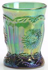 Emerald Green Carnival Glass Dahlia Pattern Tumbler - Mosser USA