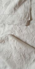 Antique double pure linen hand embroidered white work  bed cover/coverlet