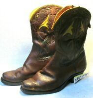 Vintage 50s Men's Acme Cowboy Boots Shorty Inlay Cut Outs For Display Only