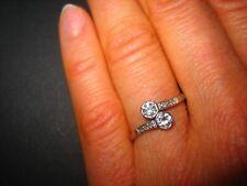 Art Deco Ring 585er Silber, 2 Altschliff - Brillianten mit 0,10 Karat, + 6 Di