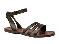 Brown leather ankle strap franciscan sandals for womens handmade in Italy