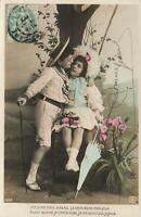1907 VINTAGE FRENCH REAL PHOTO YOUNG GIRL & BOY LOVERS POSTCARD to Loir-et-Cher