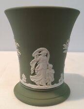 "Vintage Wedgwood 4"" Tall Tumbler Vase Sage Green Jasperware England Signed"
