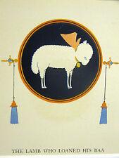 Elizabeth Cadie 1925 SWEET LITTLE WHIITE LAMB Vintage Art Print Matted