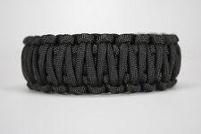 550 Paracord Survival Bracelet King Cobra Solid Black Camping Military Tactical
