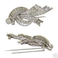 Platinum Deco Ladies Diamond Cluster Pin / Brooch 1930s