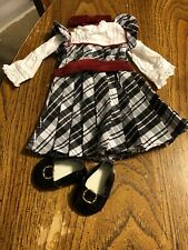 American Girl Nellie Holiday Outfit Dress Shoes Hairbow EUC RETIRED