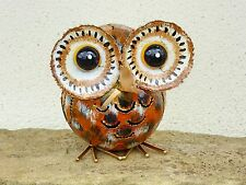 Hand Made And Painted Metal Owl Candle Tea Light Holder Ornament.....