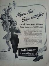 1943 Poll Parrot Shoes Happy Feet Skip With Joy Children Original Ad