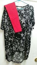 LuLaRoe Xtra Small Irma Black W/ Gray & White Stars *NWT* + Red OS Leggings
