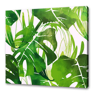 BOTANICAL GREEN PROTEA AND MONSTERA LEAVES CANVAS PRINT WALL ART PICTURE