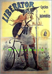 Liberator 1860 Cycles Automobiles French Advertising Vintage Poster Print Art