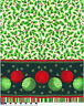 Christmas Fabric Panel Tablecloth Holly Berries Baubles Green Red 1/2 metre