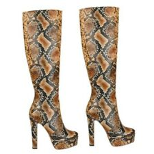 Europe Women's Super High Heel Snakeskin Pattern Mid Calf Knight Boots 35/43 L