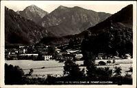 Ruhpolding Bayern s/w Postkarte 1953 Teilansicht mit Blick auf das Sonntagshorn
