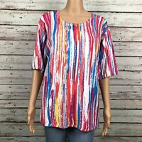 Joseph A. Sweater Shirt Top LARGE Bright Pink Yellow Blue Stripe Light Knit