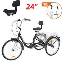 Adult Tricycle Sport Trike 24'' 7 Speed Bike w/Foldable basket +Backrest +tools