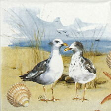 4x Paper Napkins for Decoupage - Seagulls at the beach