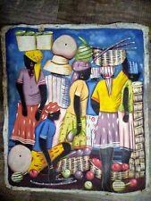 "Haiti Painting Canvas signed  24"" x 20"" Unframed market scene people"