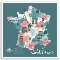2 x 10cm France Map Vinyl Stickers - Paris Travel Sticker Laptop Luggage #17241