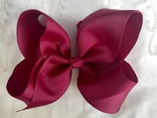 School Hair Bows- Wine Maroon HollyBow 6 inch Clip Accessory Headband